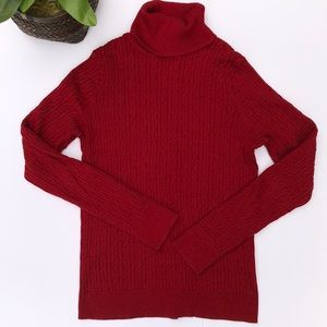 Talbots Red Cable-Knit Pattern Turtleneck Sweater